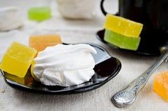Vanilla marshmallow zephyr and fruit candies Stock Photos