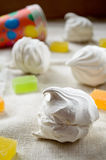 Vanilla marshmallow zephyr and fruit candies Stock Photography