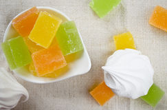 Vanilla marshmallow zephyr and fruit candies Royalty Free Stock Image