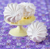 Vanilla marshmallows, selective focus. Vanilla marshmallows on a cake stand, selective focus Stock Images