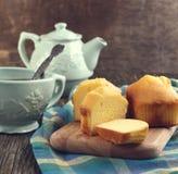 Vanilla Mini loaves and cup of tea royalty free stock photos