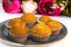 Vanilla mini muffins with chocolate topping Stock Images