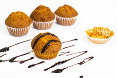 Vanilla mini muffins with chocolate topping Royalty Free Stock Photography
