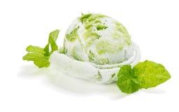 Vanilla-mint ice cream Stock Photo