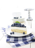 Vanilla mousse cake with fresh blueberries Royalty Free Stock Photography