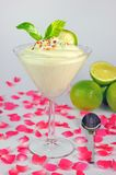 Vanilla mousse with colored sprinkles Royalty Free Stock Photo