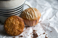 Vanilla muffins on a paper background Stock Images