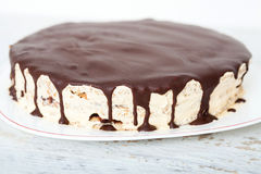 Vanilla, nut and chocolate cake Royalty Free Stock Image