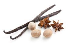 Vanilla with nutmeg and anise Stock Photos