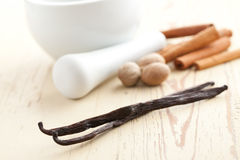 Vanilla with nutmeg and cinnamon Stock Photography