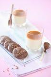 Vanilla Panna Cotta with Caramel Sauce Stock Photos