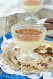 Vanilla panna cotta with chocolate on a wooden background. selec Royalty Free Stock Photo