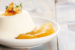 Vanilla Panna Cotta Dessert with lemon Royalty Free Stock Photography