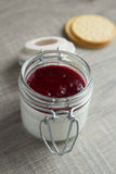 Vanilla panna cotta dessert with red berry sauce Stock Photography