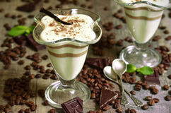 Vanilla pannacotta with coffee and chocolate. Royalty Free Stock Photography