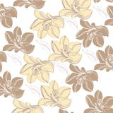 Vanilla Pattern background vector. Design element for cards decoration, textiles, paper. Natural drawings of vanilla with leaves, blooming flowers and leaves on vector illustration