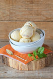 Vanilla and peach ice cream Royalty Free Stock Photo