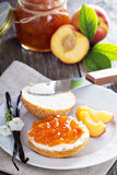 Vanilla peach jam on bread Royalty Free Stock Image