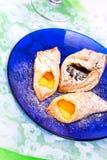 Vanilla, plum flaky pastry. Delicious vanilla, plum flaky pastry Royalty Free Stock Images