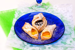 Vanilla, plum flaky pastry Royalty Free Stock Images