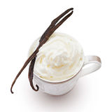 Vanilla pods. Cappuccino with vanilla pods and wafers on white background royalty free stock images