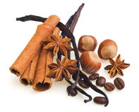 Vanilla pods, cinnamon and anise, hazelnut Stock Images