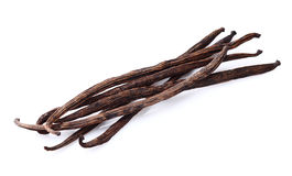 Vanilla pods. In closeup on a white background Stock Photos