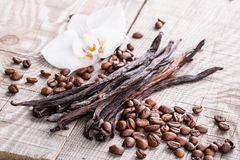 Vanilla pods and coffee beans Royalty Free Stock Photography