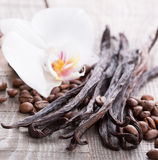 Vanilla pods and coffee beans Royalty Free Stock Images