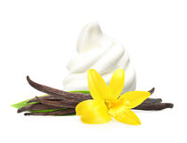 Vanilla pods, flower and ice cream Stock Images