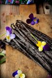 The vanilla pods on kitchen table Royalty Free Stock Photo