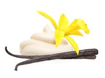 Vanilla pods,orchid flower and cream Stock Photos