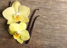 Vanilla pods and orchid flowers Royalty Free Stock Image