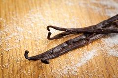 Vanilla pods and sugar Royalty Free Stock Photos
