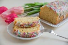 Vanilla Pound cake with sprinkles Stock Image
