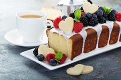 Vanilla pound cake for Valentines day stock photos