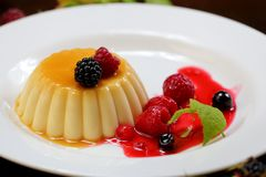 Vanilla pudding with berries and cream. On a white plate close-up stock photography