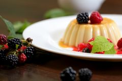 Vanilla pudding with berries and cream. On a white plate close-up royalty free stock images