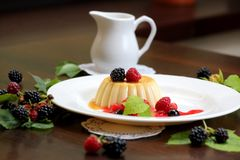 Vanilla pudding with berries and cream. On a white plate close-up stock photo