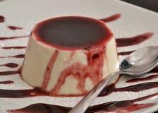 Vanilla pudding. And caramel syrup.Panna cotta cake and syrup Stock Photo
