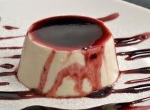 Vanilla pudding. And caramel syrup.Panna cotta cake and syrup Stock Photos