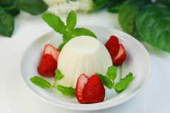 Vanilla pudding. It is a vanilla pudding identified with a blancmange royalty free stock images