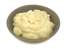 Vanilla Pudding In Old Bowl Side View Stock Photos