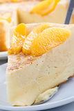 Vanilla pudding pie. Big celebratory vanilla pudding pie with peach segments Stock Image