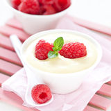 Vanilla pudding with raspberries Stock Images
