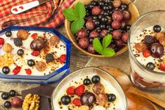 Vanilla pudding with summer fruit on a wooden table. Healthy snacking for kids. stock photo