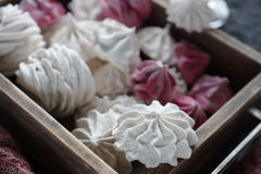 Vanilla and raspberry homemade zephyr, delicious pink and white marshmallows Stock Images
