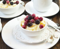 Vanilla Rice Pudding with Berries Stock Images