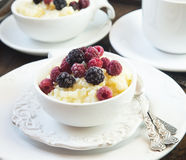 Vanilla Rice Pudding with Berries Stock Photos