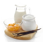 Vanilla sauce ingredients Stock Photo